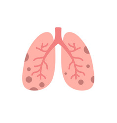 Damaged lungs flat icon vector