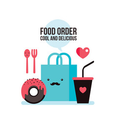 delicious donut coffee shopping bag online food vector image
