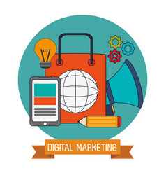 Digital marketing business network website vector