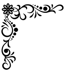 Doodle abstract handdrawn corner flower vector