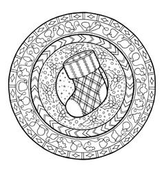 Doodle Christmas sock on ethnic mandala vector image