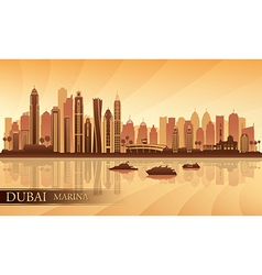 Dubai Marina City skyline silhouette background vector