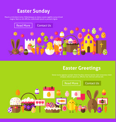 easter greetings website banners vector image