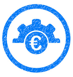 euro technology rounded icon rubber stamp vector image