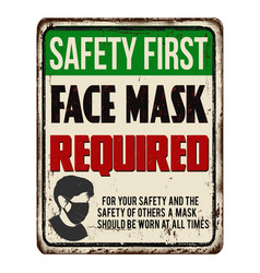 face mask required vintage rusty metal sign vector image