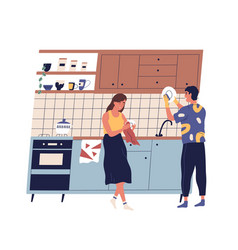 family washing and rubbing dishes in kitchen vector image