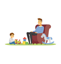 father and son - cartoon people characters vector image
