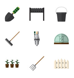 Flat icon farm set of barbecue hay fork vector