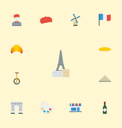 Flat icons loaf archway flag and other vector