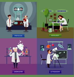 Flat scientific research square concept vector