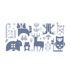 flat set of monochrome forest icons cute vector image
