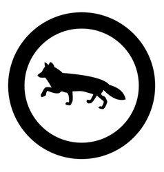 Fox of silhouettes icon black color in circle vector