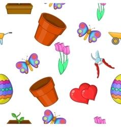 Garden pattern cartoon style vector