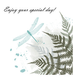 Greeting card with blue dragonfly and fern frond vector
