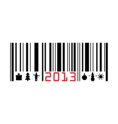 Greeting with 2013 year bar-code vector image