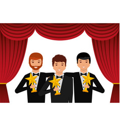 Group elegant actors holding gold trophies star in vector