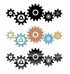 group of connected gears vector image