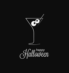 halloween cocktail glass logo on black background vector image