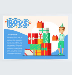 happy boy and pile of colorful gift boxes cute vector image