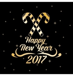 Happy new year 2017 greeting card gold letter vector