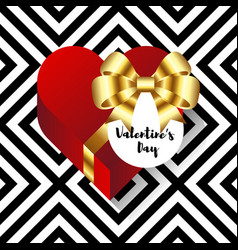 happy valentine s day card decorative with heart vector image