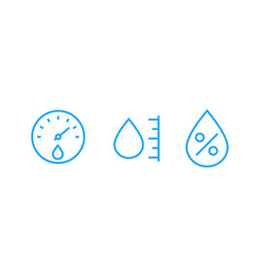 Hygrometer humidity line icons vector