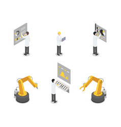 industrial machinery engineers and equipment set vector image