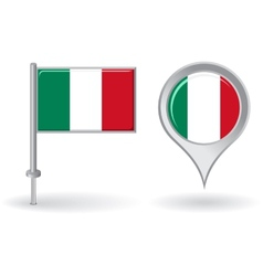 Italian pin icon and map pointer flag vector