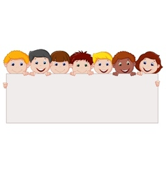 Kids cartoon with blank sign vector