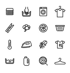 laundry signs black thin line icon set vector image