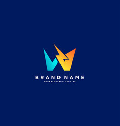 Letter w flash electrical logo design vector