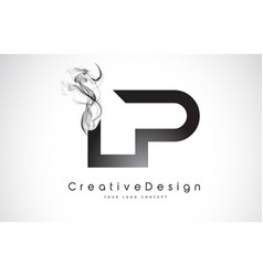 Lp letter logo design with black smoke vector