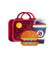 Lunch bag with hamburger and cup of coffee vector