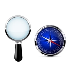 Magnifying glass with compass Research tool vector