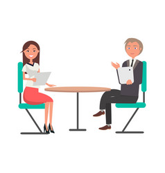 Man and woman on business meeting at round table vector