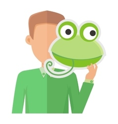 Man Without Face with Frog Mask Isolated on White vector