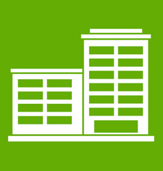 Manufacturing factory building icon green vector