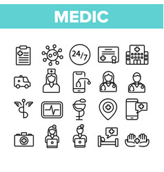 Medic doctor and nurse collection icons set vector