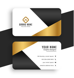 Minimal premium golden business card template vector