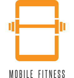 Mobile fitness abstract with phone and barbell vector