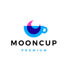 moon cup coffee tea overlay overlapping logo icon vector image