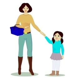 Mother and daughter with shop basket isolated vector