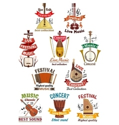 Musical instruments icons and emblems vector image