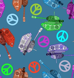 No war seamless pattern hippie background world vector image