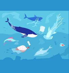 ocean plastic pollution sea plastics animal vector image