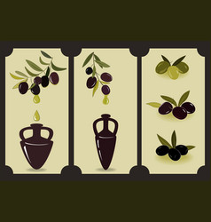 olive oil set labels with olive branches and vector image
