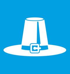 Pilgrim hat icon white vector