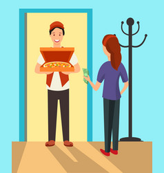 pizza delivery man at doorway flat characters vector image