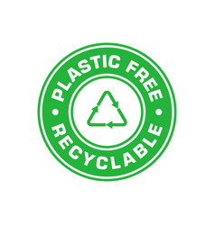 Plastic free green emblem recyclable recycle vector