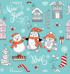 seamless pattern merry christmas character vector image